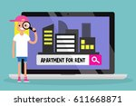 looking for an apartment for... | Shutterstock .eps vector #611668871