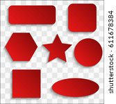 vector red blank button set....