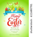 bright easter card | Shutterstock .eps vector #611680781