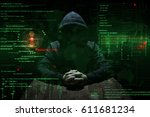 hacker at work with graphic... | Shutterstock . vector #611681234