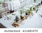 on a serving buffet table there ... | Shutterstock . vector #611681474
