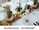 on a serving buffet table there ... | Shutterstock . vector #611681687
