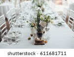 on a serving buffet table there ... | Shutterstock . vector #611681711