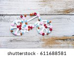 bike with flowers roses ... | Shutterstock . vector #611688581