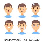 set of male emoji characters.... | Shutterstock .eps vector #611690639