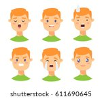 set of male emoji characters.... | Shutterstock .eps vector #611690645