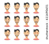 set of male emoji characters.... | Shutterstock .eps vector #611690651