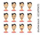 set of male emoji characters.... | Shutterstock .eps vector #611690651