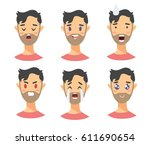 set of male emoji characters.... | Shutterstock .eps vector #611690654