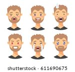set of male emoji characters.... | Shutterstock .eps vector #611690675