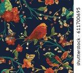 vintage seamless pattern  bird  ... | Shutterstock .eps vector #611700695