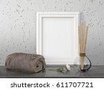 mock up blank frame. 3d... | Shutterstock . vector #611707721