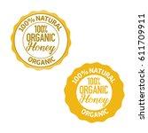 set of honey organic product... | Shutterstock .eps vector #611709911