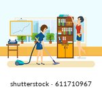 Woman Cleaning Room. Girl ...