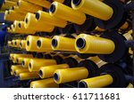 yellow pp woven thread ready... | Shutterstock . vector #611711681