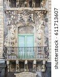baroque balcony in catania... | Shutterstock . vector #611713607