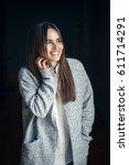 portrait of smiling white... | Shutterstock . vector #611714291