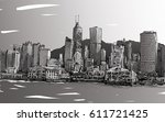 sketch of cityscape in hong... | Shutterstock . vector #611721425