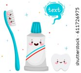 set with cute toothbrush ... | Shutterstock .eps vector #611726975