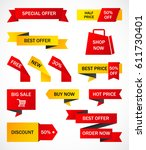 vector stickers  price tag ... | Shutterstock .eps vector #611730401