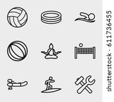 activity icon. set of 9... | Shutterstock .eps vector #611736455
