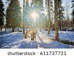 reindeer at winter farm in... | Shutterstock . vector #611737721