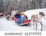 rovaniemi  finland   march 3 ... | Shutterstock . vector #611737925