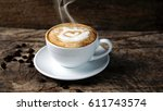 hot cappuccino with streamed...   Shutterstock . vector #611743574