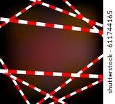 of a red white striped danger... | Shutterstock .eps vector #611744165