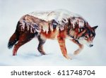 wolf and forest. airbrush... | Shutterstock . vector #611748704