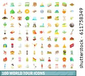 100 world tour icons set in... | Shutterstock .eps vector #611758349