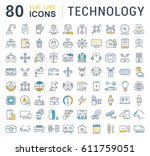 set  line icons in flat design... | Shutterstock . vector #611759051
