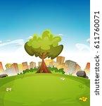spring city landscape ... | Shutterstock .eps vector #611760071