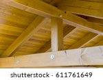 Wooden Roof Made Of Beams And...