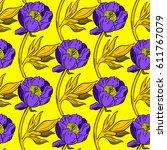 violet peony flower... | Shutterstock .eps vector #611767079