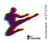 karate jump kick. fighter.... | Shutterstock .eps vector #611771747