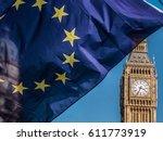 European Union Flag In Front O...