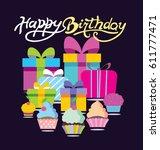 happy birthday doodle  banner.... | Shutterstock .eps vector #611777471