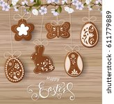 happy easter lettering ... | Shutterstock .eps vector #611779889