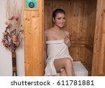 asian women in sauna room. | Shutterstock . vector #611781881