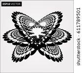 black abstract halftone logo...   Shutterstock .eps vector #611789501