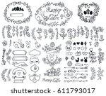 easter decoration set.doodles... | Shutterstock .eps vector #611793017
