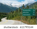 road sign in british columbia   ... | Shutterstock . vector #611795144