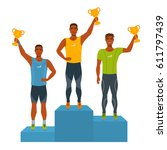 boys stand on podium  awarded... | Shutterstock .eps vector #611797439