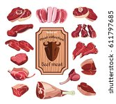 hand drawn meat elements set... | Shutterstock .eps vector #611797685