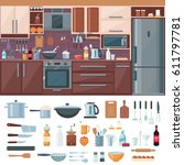 kitchen interior elements set... | Shutterstock .eps vector #611797781