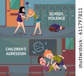 school conflicts horizontal... | Shutterstock .eps vector #611797811