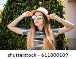 Woman In Hat And Summer Clothe...