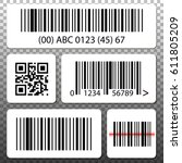 barcode and qr code stickers... | Shutterstock .eps vector #611805209