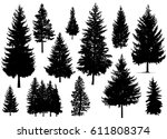 set. silhouette of pine trees.  | Shutterstock . vector #611808374